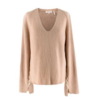 Helmut Lang Lace-sleeve V-neck Sweater