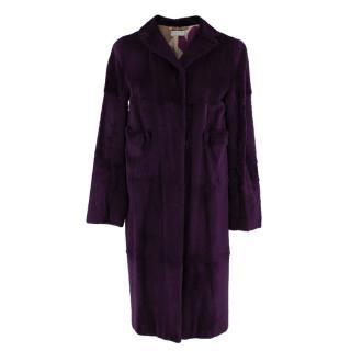 Marni Purple Rabbit Fur Coat