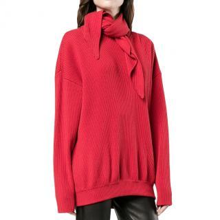 Balenciaga Red Ribbed Knit Scarf Tie Jumper