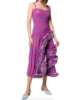 Molly Goddard Runway Lilac Polka Dot Ruffled Midi Dress