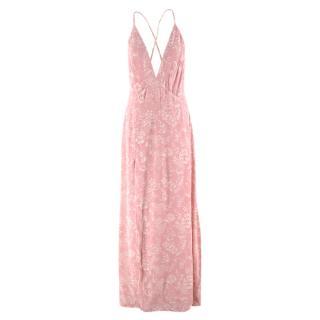 Reformation Pink Floral-print Sleeveless Dress