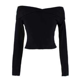 A.L.C Black Ribbed Slim Fit Cropped Sweater