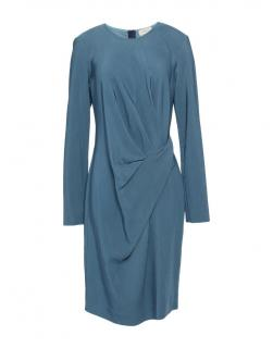 Lanvin Blue Draped Long Sleeve Dress
