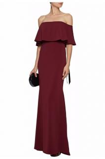 Badgley Mischka Burgundy Bardot Fitted Gown