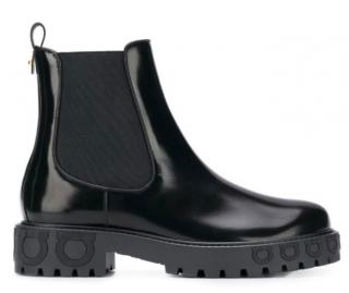 Ferragamo black leather gancio ankle boots
