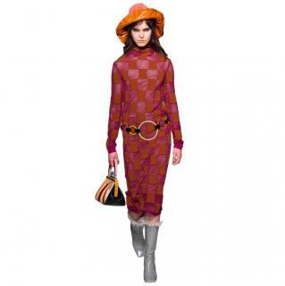 Marni Sheer Knit Check Midi Dress