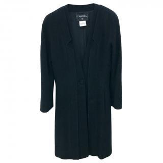 Chanel Black Wool Tweed Raglan Coat
