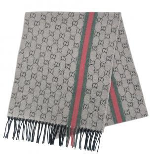 Gucci Supreme Monogram Cashmere Web Scarf