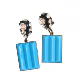 Marni Blue Strass Drop Clip-On Earrings