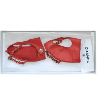 Chanel Red Leather Chain Detail Gloves