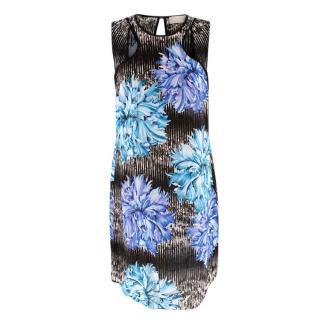 Peter Pilotto Black & Blue Floral Print Shift Dress