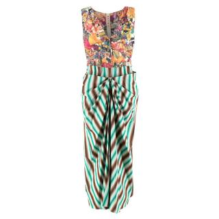 Marni Multi-coloured Floral Print & Striped Crepe Dress