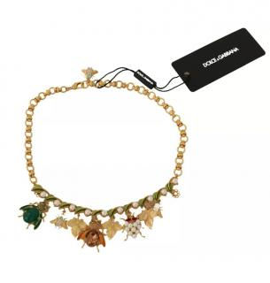 Dolce & Gabbana Crystal Insect Pendants Necklace
