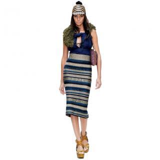 Burberry Runway Striped Pencil Skirt