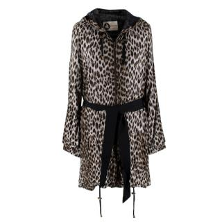 Lanvin Grey Leopard Print Hooded Tie Belt Longline Jacket