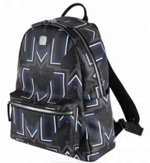 MCM Black Blue Visetos Chevron Logo Stark Backpack