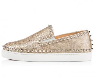 Christian Louboutin Metallic Spiked Pik Boat Shoes