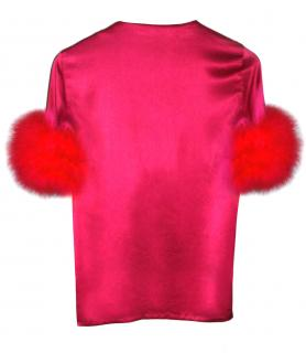 Maguy de Chadirac Fuchsia Silk Feather Trim Top