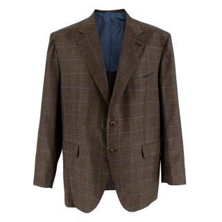 Donato Liguori Brown & Blue Check Bespoke Tailored Blazer