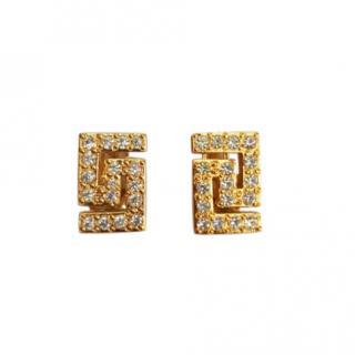 Versace Crystal Embellished Stud Earrings