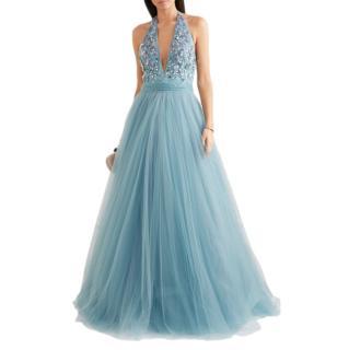 Jenny Packham Blue Embellished tulle halterneck gown