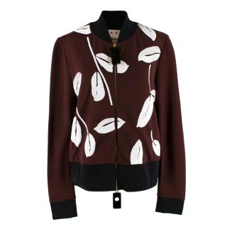 Marni Brown Leaves Sequin Applique Bomber
