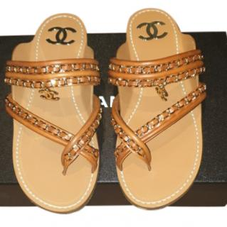 Chanel Leather Chain Trim Flat Sandals