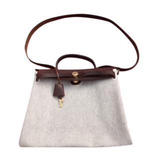 Hermes Dark Brown Leather 2-in-1 Toile Canvas Herbag