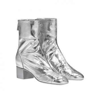 Chanel Laminated Goats Leather Silver Ankle Boots