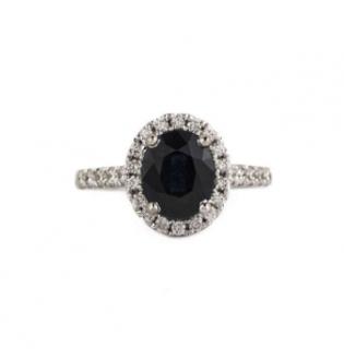 Bespoke 18k White Gold Sapphire and Diamond Ring