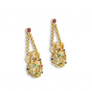 Bespoke Yellow Gold Multi-Gemstone and Diamond Vase Earrings