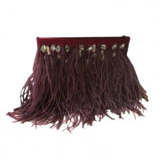 Jenny Packham Ostrich Feather Trimmed Crystal Embellished Clutch