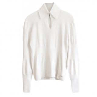 Chanel Cashmere Blend Cream Ribbed Sweater
