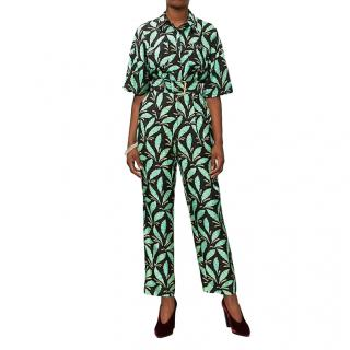 DVF Black & Green Jungle Paisley Print Jumpsuit