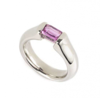 Bespoke 18k White Gold Pink Sapphire Ring
