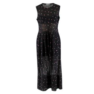 Molly Goddard Black Floral Print Sheer Panelled Dress