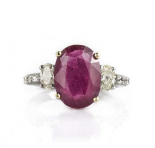 Bespoke 18k White Gold Ruby and Diamond Ring