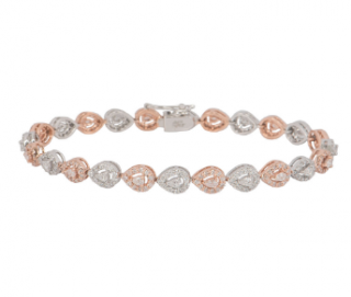 Bespoke White and Rose Gold Diamond Line Bracelet