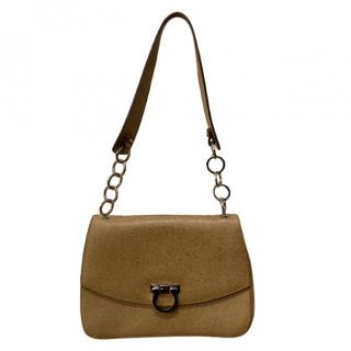 Ferragamo Brown Leather Gancini Handbag