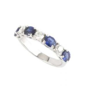 Bespoke 18k White Gold Diamond & Sapphire Half Eternity Ring