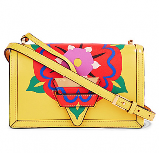 Loewe Barcelona Flower Leather Shoulder Bag In Yellow
