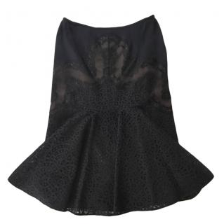 Stella McCartney Black Lace Skirt with Nude Underlay