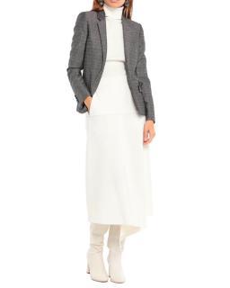 Saint Laurent Mohair Wool Blend Tailored Check Jacket