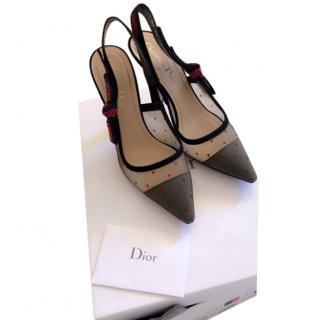 Dior J'adior Red & Black Dotted Tulle Slingback Sandals