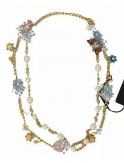 Dolce & Gabbana Crystal Floral Applique Chain Belt/Necklace