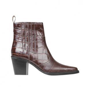 Ganni Brown Mock Croc Western Ankle Boots