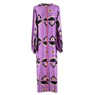 Marni Lilac Silk Geometric Print Long Sleeve Column Dress