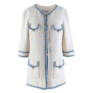Chanel White Cotton Blend Tweed Denim Trimmed Jacket