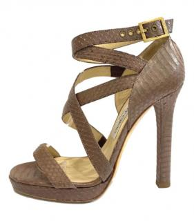Jimmy Choo Taupe Snakeskin Strappy Sandals
