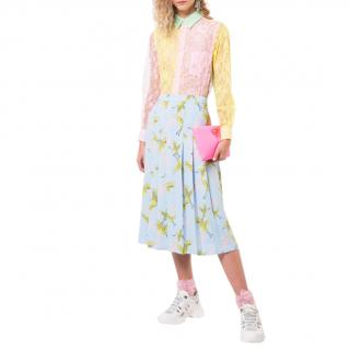 Comme des Garcons Pink Yellow & Green Lace Sheer Blouse